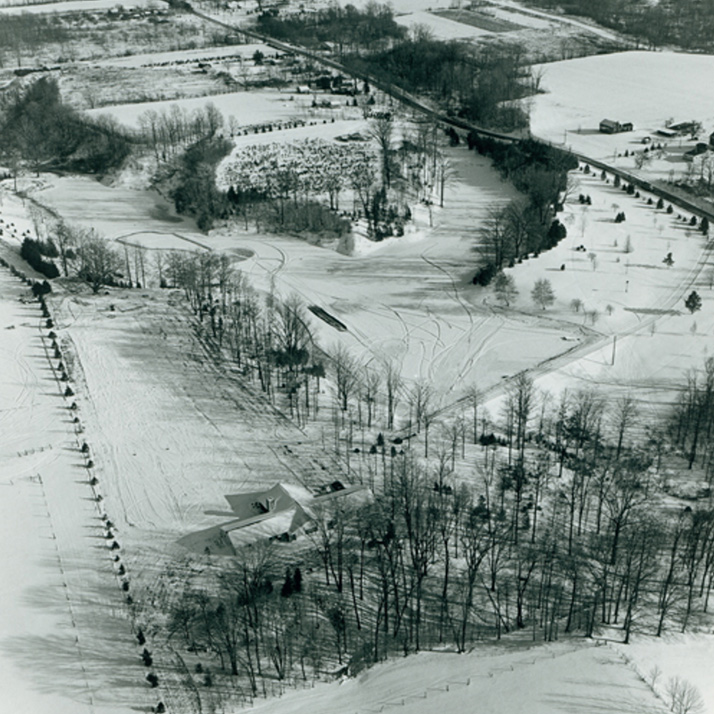 aerial picture of snow fall