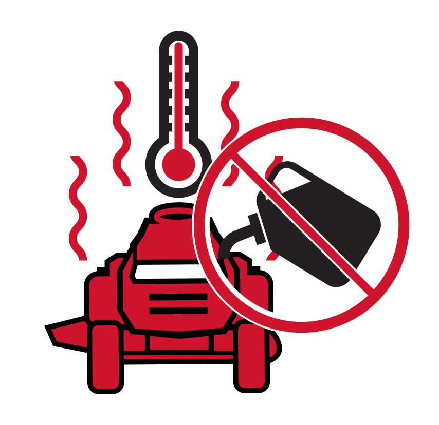 don't add gas while mower engine is hot