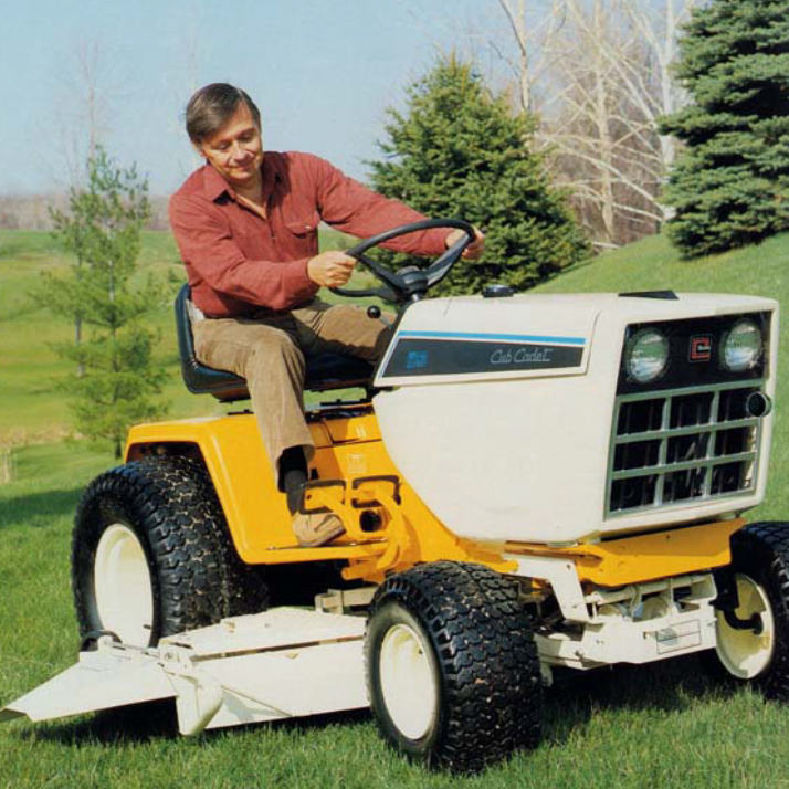 man on cubcadet mower